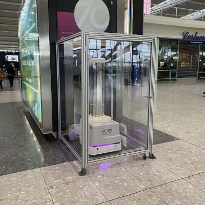 A UVD Robot from Blue Ocean Robotics at Heathrow Airport